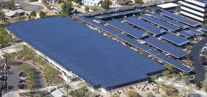Aerial view of solar parking lot