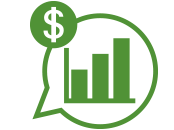 Green icon of a talk bubble with a bar graph and a dollar sign inside it
