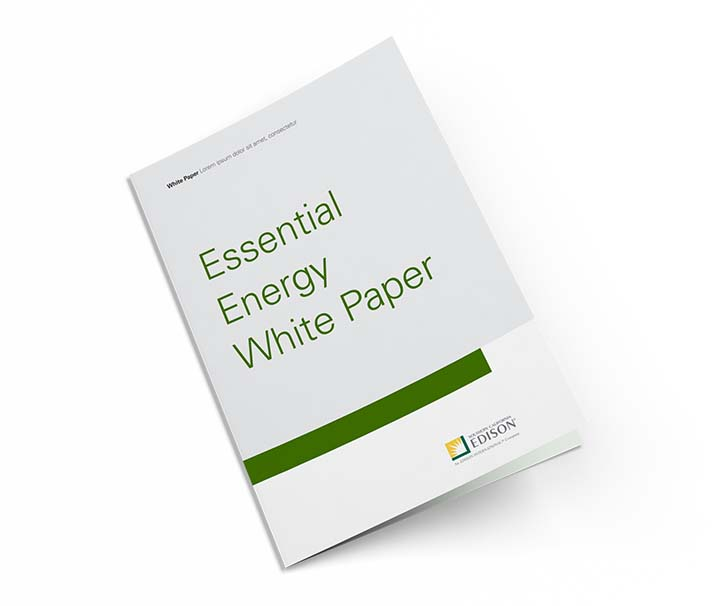 White Brochure Cover with title: Essential Energy White Paper